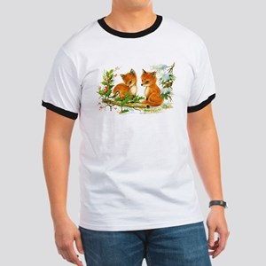 Cute Vintage Christmas Foxes T-Shirt