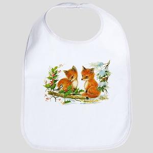 Cute Vintage Christmas Foxes Bib
