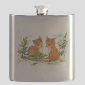 Cute Vintage Christmas Foxes Flask