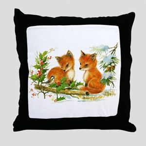 Cute Vintage Christmas Foxes Throw Pillow
