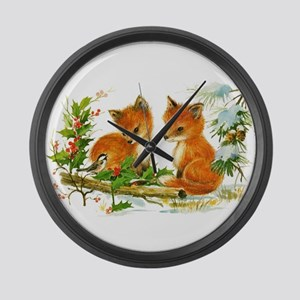 Cute Vintage Christmas Foxes Large Wall Clock