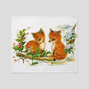 Cute Vintage Christmas Foxes Throw Blanket