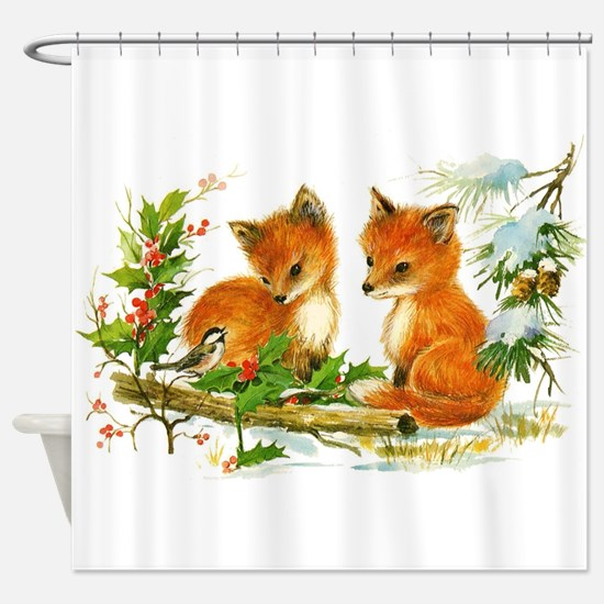 Cute Vintage Christmas Foxes Shower Curtain