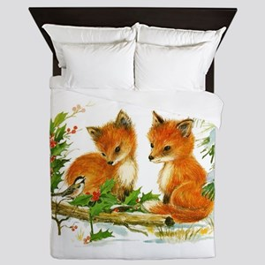 Cute Vintage Christmas Foxes Queen Duvet