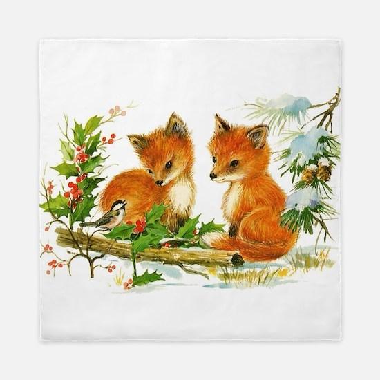 Cute Vintage Christmas Foxes Queen Duvet