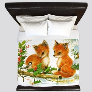 Cute Vintage Christmas Foxes King Duvet