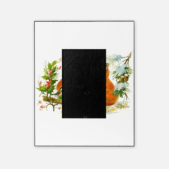 Cute Vintage Christmas Foxes Picture Frame