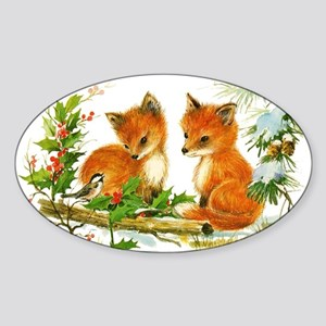 Cute Vintage Christmas Foxes Sticker