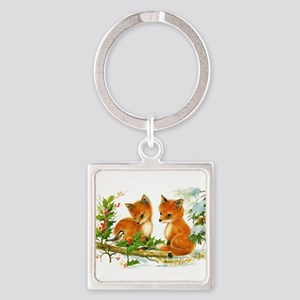 Cute Vintage Christmas Foxes Keychains