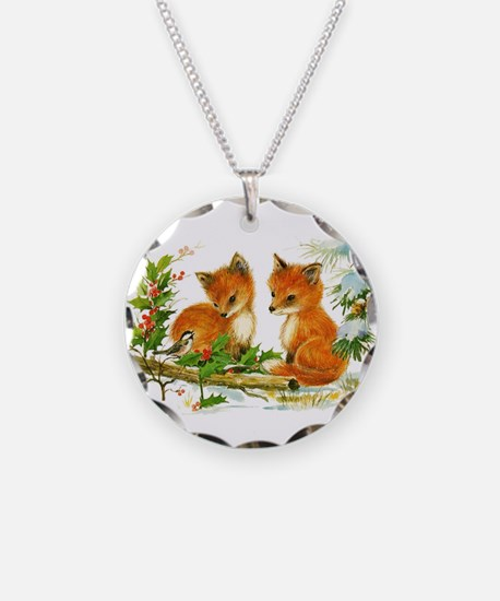 Cute Vintage Christmas Foxes Necklace