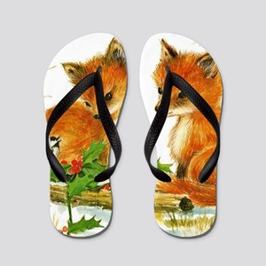 Cute Vintage Christmas Foxes Flip Flops