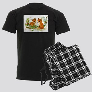 Cute Vintage Christmas Foxes Men's Dark Pajamas