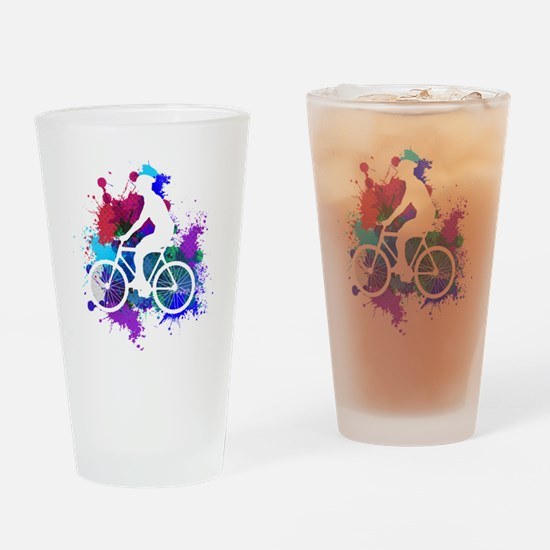Cute Cycling male Drinking Glass