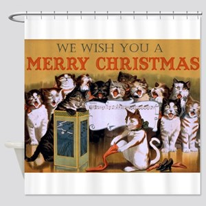 Vintage Cats Christmas Shower Curtain
