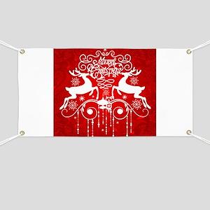 Red Merry Christmas Reindeer Banner