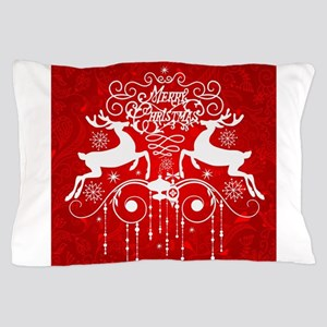Red Merry Christmas Reindeer Pillow Case