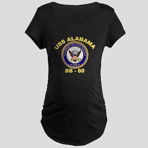USS Alabama BB 60 Maternity Dark T-Shirt