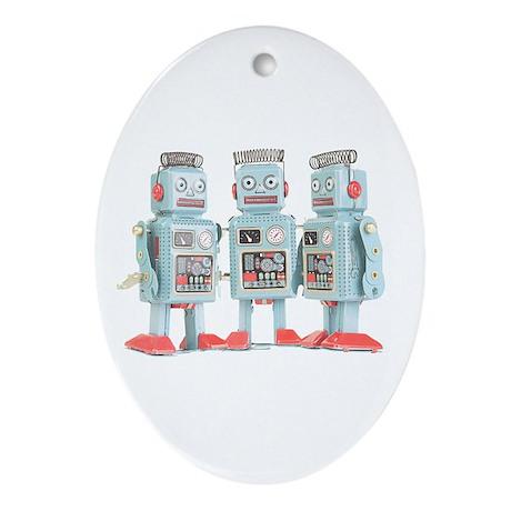 Vintage Robots Oval Ornament