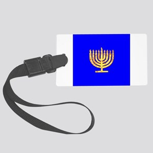 Blue Glowing Chanukah Menorah Gu Large Luggage Tag