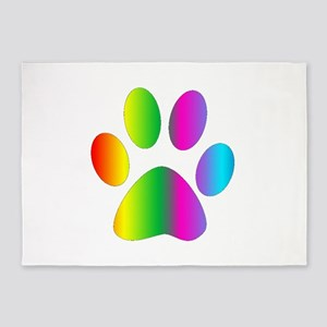 Rainbow Paw Print 5'x7'Area Rug