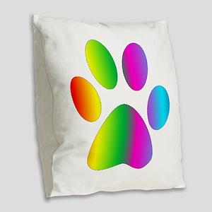 Rainbow Paw Print Burlap Throw Pillow