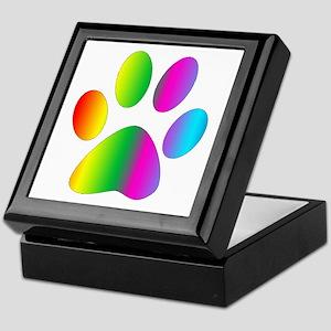 Rainbow Paw Print Keepsake Box