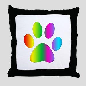 Rainbow Paw Print Throw Pillow