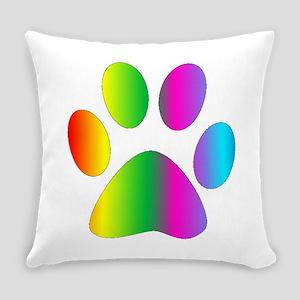 Rainbow Paw Print Everyday Pillow
