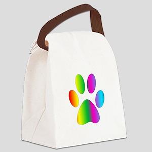 Rainbow Paw Print Canvas Lunch Bag