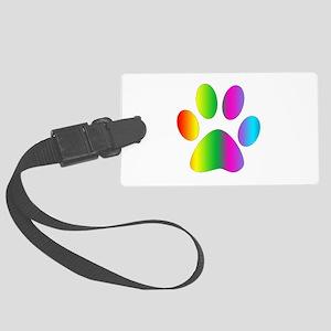 Rainbow Paw Print Luggage Tag