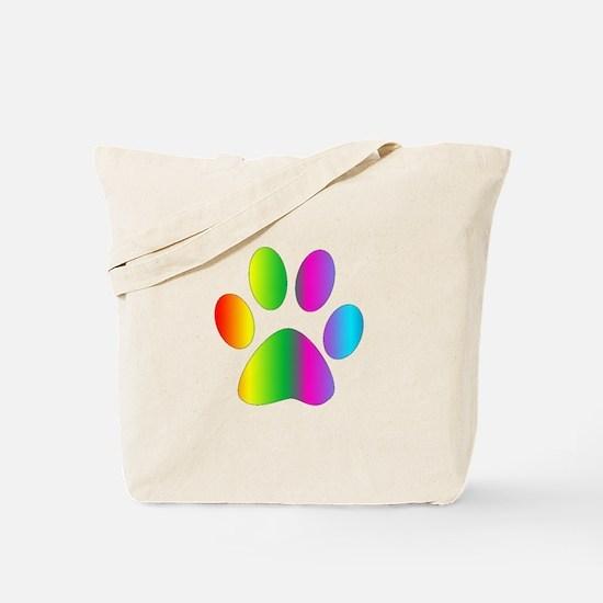 Rainbow Paw Print Tote Bag