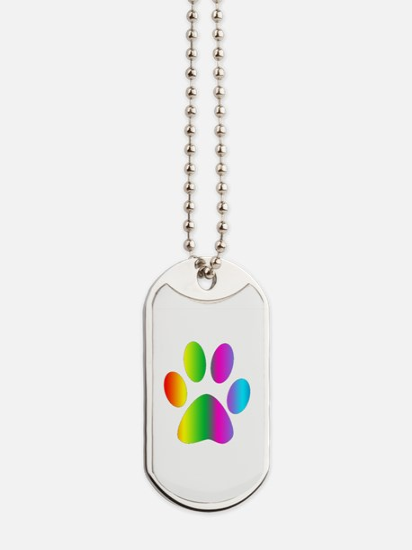 Rainbow Paw Print Dog Tags
