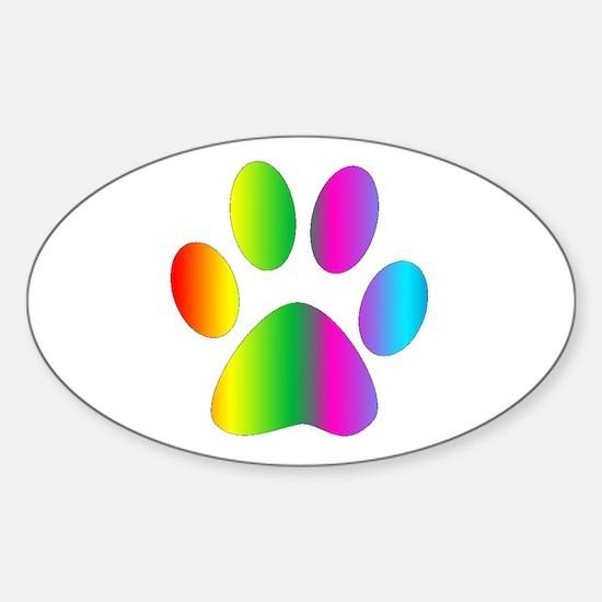 Rainbow Paw Print Decal