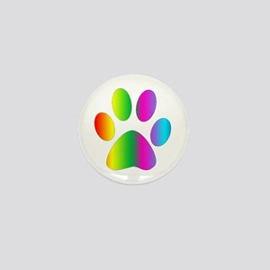 Rainbow Paw Print Mini Button