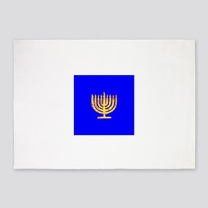 Blue Glowing Chanukah Menorah Guri' 5'x7'Area Rug