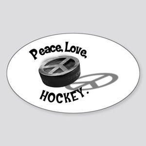 Peace Love Hockey Oval Sticker