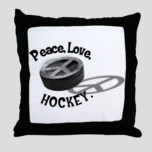 Peace Love Hockey Throw Pillow