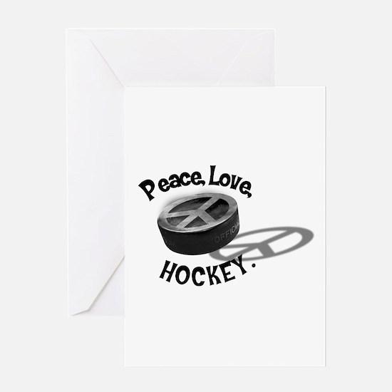 Peace Love Hockey Greeting Card