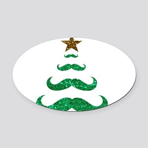mustache christmas tree Oval Car Magnet