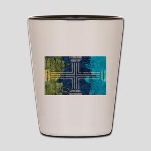 Gold Gray Turquoise Greek Columns Cross Shot Glass