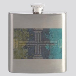 Gold Gray Turquoise Greek Columns Cross Flask