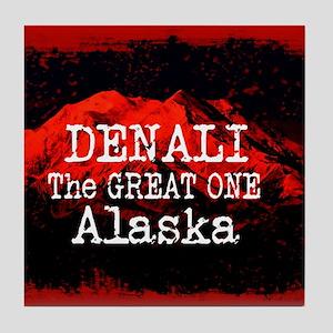 DENALI MOUNTAIN ALASKA RED Tile Coaster