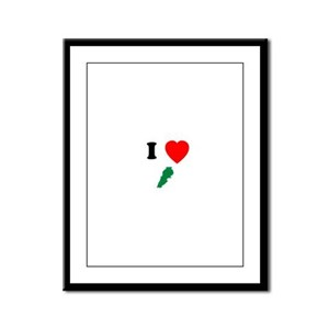 I heart Map Framed Panel Print