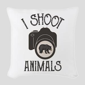 I Shoot Animals Woven Throw Pillow