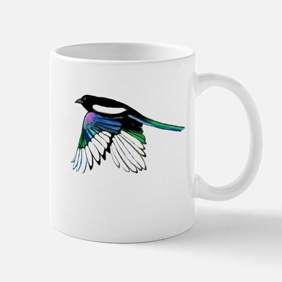 Magpie Bird in Flight Mugs