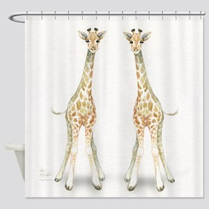 baby giraffe twins Shower Curtain