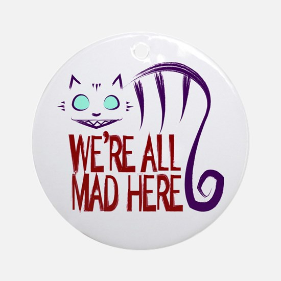 Cute Alice in wonderland cheshire cat Round Ornament