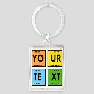 Your Text Periodic Elements Nerd Portrait Keychain