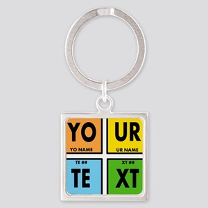 Periodic table of elements keychains cafepress your text periodic elements nerd s square keychain urtaz Images