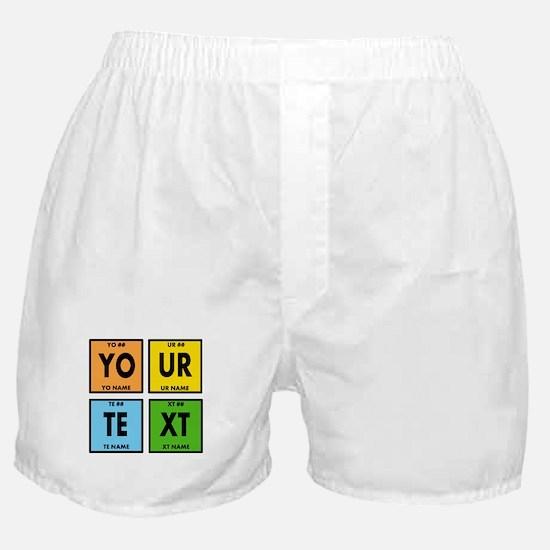 Your Text Periodic Elements Nerd Spec Boxer Shorts
